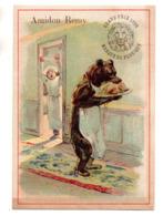 Chromo Amidon Remy Tête Lion Gaillon Eure Cuisinier Anthropomorphisme Ours Animal Humanisé Marmiton Voleur Poulet Repas - Kaufmanns- Und Zigarettenbilder