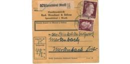 Allemagne  - Colis Postal  Départ Sprockhövel  -  Maschinenfabrik Rud. Hausherr & Söhne - Allemagne