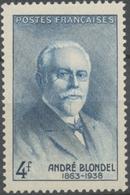 En Souvenir Du Physicien André Blondel (1863-1938) 4f. Bleu Neuf Luxe ** Y551 - France