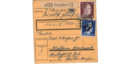 Allemagne  - Colis Postal  Départ  Düsseldorf  -  24-10-42 - Allemagne