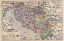 MAP-KINGDOM OF SERBIA,CROATIA AND SLOVENIA - Yugoslavia