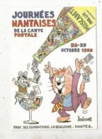Cp, Bourses & Salons De Collections, Journées Nantaises De Lacarte Postale ,1988 ,illustrateur Barberousse - Bourses & Salons De Collections