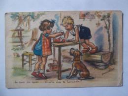 Cpa  Germaine Bouret Enfants Chien Haricots - Bouret, Germaine