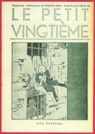 """Le Petit Vingtième. Hergé. Tintin. """"Une évasion"""". N°34. 27 Août 1936. Fac-similé De Couverture. - Vieux Papiers"""