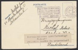 """Guerre 40-45 - Postkarte Manusrite De Scharbeek (1940) Vers Le Stalag VI + étiquette """"Retour ! Attendre Le Numéro Du Pri - Guerra 40 – 45"""