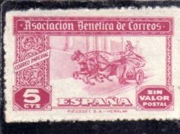 SPAIN ESPAÑA SPAGNA 1945 Viñeta Local ASSOCIACION BENEFICA DE CORREOS CTS. 5c MNH - Vignette Della Guerra Civile