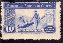 SPAIN ESPAÑA SPAGNA 1945 Viñeta Local ASSOCIACION BENEFICA DE CORREOS CTS. 10c MNH - Vignette Della Guerra Civile