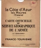 CARTE OFFICIELLE Du SERVICE GEOGRAPHIQUE De L'ARMEE - LA CÔTE D'AZUR - Les Maures, L'Esterel - Janvier 1928 VOIR SCANS - Mapas Geográficas