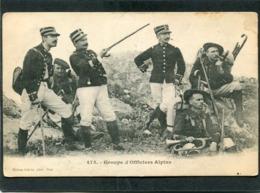 CPA - Groupe D'Officiers Alpins  (dos Non Divisé) - Regiments