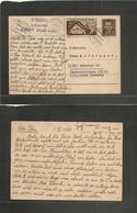CZECHOSLOVAKIA. 1950 (10 July) Knnov 1 - Germany, Munich. 1,50k Brown Stat Card +  Adtl + Censor Cachet. Scarce. - Czechoslovakia