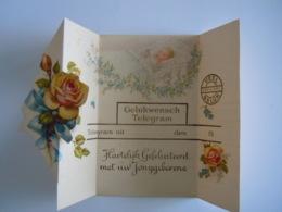 Geboorte Naissance Gelukwensch Telegram Télégramme De Bonheur Baby Roses Rozen - Birth