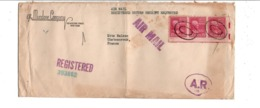 USA ETATS UNIS AFFRANCHISSEMENT COMPOSE SUR LETTRE RECOMMANDEE POUR LA FRANCE 1950 - Marcophilie