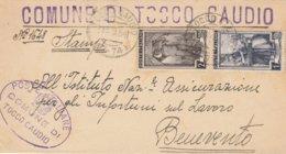 Tocco Caudio. 1954. Annullo Frazionario (9 - 74) + Ovale COMUNE.. , Su Lettera Affrancata Italia Al Lavoro, Con Testo - 1946-.. Republiek