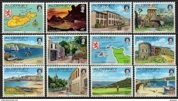 Alderney - 1983 - Yvert N° 1 à 12 **  - Série Courante, Vue D'Aurigny - Alderney