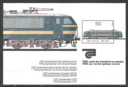 Belgium 1985 Mint Block MNH(**) Trains - Libretti 1962-....