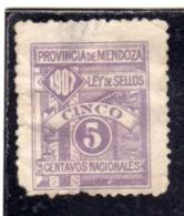 ARGENTINA 1907 REVENUE SERICE MARCHE DA BOLLO SERVIZIO LEY DE SELLOS PROVINCIA DE MENDOZA CENT. 5c MLH - Servizio