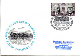"(Bu-B1) BRD Sonderumschlag ""KIELER UMSCHLAG 1988"" EF BRD Mi 1351 SSt 27.2.1988 KIEL 1 - BRD"