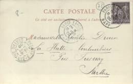 Marcophilie - Sage 10c Oblit. Cad Paris Exposition Rapp 15 Sept. 1900, Cpa Expo Universelle 1900 Pavillon Ville De Paris - Marcophilie (Lettres)