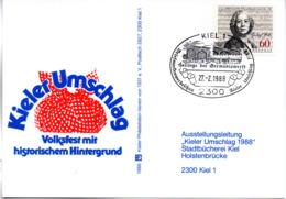 """(Bu-B1) BRD Sonderkarte """"KIELER UMSCHLAG 1988"""" EF BRD Mi 1343 SSt 27.2.1988 KIEL 1 - BRD"""