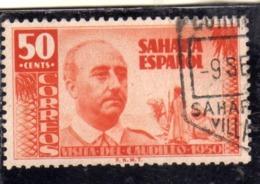 SAHARA ESPAÑOL SPANISH SPAGNOLO 1951 VISIT VISITA DEL CUADILLO 1950 GENERALE FRANCO CENT. 50c USED USATO OBLITERE' - Sahara Spagnolo