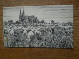 """Chartres , La Cathédrale , """" Dessin Aucune Indication , Dos Vierge """" """" Animée Berger Son Chien Et Moutons """" - Chartres"""