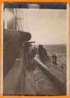 PHOTO FORMAT 12 X 8 Cm Du SOUS MARIN  U46  Et Du RAVITAILLEUR SMS BEOWULF  à  BORKUM REEDE  -  1916 - War 1914-18