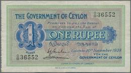 Ceylon: Pair With 1 Rupee Government Of Ceylon 1938 P.16c (VF/VF+) And 1 Rupee Central Bank Of Ceylo - Sri Lanka