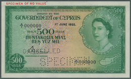 Cyprus / Zypern: 500 Mil 1955 SPECIMEN, P.34as With A Tiny Dint At Upper Right Corner, Otherwise Per - Zypern