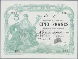 Djibouti / Dschibuti: Djibouti – French Somaliland, Banque De L'Indo-Chine 5 Francs 1923 SPECIMEN, P - Dschibuti