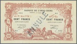"Djibouti / Dschibuti: 100 Francs 1920 Banque De L'Indochine With Stamp ""Annule"" P. 5(s), Highly Rare - Dschibuti"