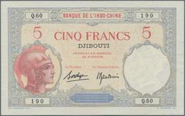 Djibouti / Dschibuti: Banque De L'Indochine – DJIBOUTI 5 Francs ND(1928-38), P.6b, Almost Perfect Co - Dschibuti