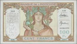 Djibouti / Dschibuti: Banque De L'Indochine – DJIBOUTI 100 Francs ND(1930's) SPECIMEN, P.8s, Small B - Dschibuti