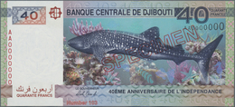 Djibouti / Dschibuti: Banque Centrale De Djibouti 40 Francs 2017 SPECIMEN, P.46s, Commemorating 40th - Dschibuti