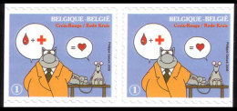 Belgium**LE CHAT-GELUCK-RED CROSS-Pair 2 Adhesive Stamps-2008-Blood Donation-CARTOONS-CROIX ROUGE-BandeDessinée-Don Du S - Red Cross