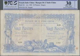 French Indochina / Französisch Indochina: Banque De L'Indo-Chine – Saïgon 20 Piastres 1905, P.36, Ve - Indochina