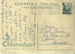 """5210 """"1951-QUADRIGA-CON TASSELLO BASSO A SINISTRA,VERDE-LIRE 15-CHLORODONT """" -CART. POST. ORIG. SPED.1951 - Interi Postali"""