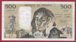 """500 Francs """"Pascal"""" Du 05/10/1978.H --- F/TTB+---ALPH  X.95---COUPURE A 14H45 - 1962-1997 ''Francs''"""