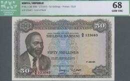 Kenya / Kenia: 50 Shillings 1971, P.9b In UNC, ICG Graded 68 Gem UNC - Kenya