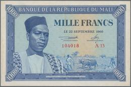 Mali: Banque De La République Du Mali 1000 Francs 1960, P.4, Great Condition With Soft Vertical Bend - Mali