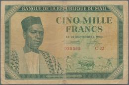 Mali: Banque De La République Du Mali 5000 Francs 1960, P.5, Toned Paper With A Number Of Pinholes A - Mali