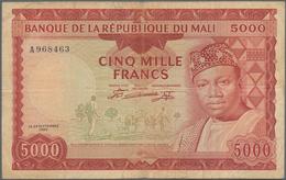 Mali: Banque De La République Du Mali 5000 Francs 1960 (1967), P.10, Lightly Stained Paper With Smal - Mali
