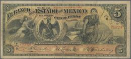 Mexico: Banco Del Estado De México 5 Pesos 1907, P.S329c, Almost Well Worn Condition With Small Bord - Mexico