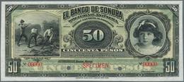 Mexico: El Banco De Sonora 50 Pesos 1899-1911 SPECIMEN, P.S422s, Punch Hole Cancellation And Red Ove - Mexico