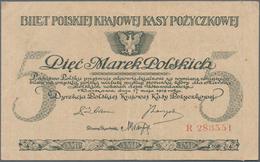 Poland / Polen: Set With 4 Banknotes Containing 1 Marka (VF+), 2x 5 Marka (VF) And 20 Marek (VF), P. - Poland