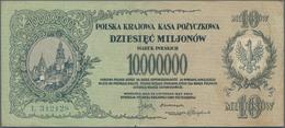 Poland / Polen: 10 Million Marek 1923, P.39, Tiny Border Tears At Right, Some Soft Folds And Minor S - Poland