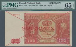 Poland / Polen: 100 Zlotych 1946 SPECIMEN, P.129s In Perfect Condition, PMG Graded 65 Gem Uncirculat - Poland