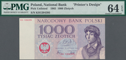 Poland / Polen: Unissued Banknote Essay 1000 Zlotych 1965, P.NL, In Perfect UNC Condition, Offset Pr - Poland