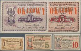 Poland / Polen: Set With 5 Pcs. Notgeld CZESTOCHOWY With 1, 5 And 10 Kopiek And 5 And 10 Rubli 1915, - Poland