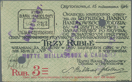 """Poland / Polen: Set With 1, 3 And 5 Rubel """"RYSKI BANK HANDLOWY"""", Czestochowa Branch 1914, All With C - Poland"""