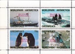 ANTARCTIQUE - Mini Feuillet GREENPECE 1987 Neuf** Surchargé Worldpark - Navire , Manchots , Orques , Léopard De Mer - Events & Commemorations